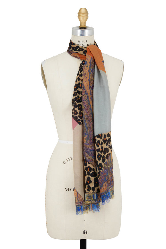 Etro Multicolor Paisley Cheetah Wool & Silk Scarf
