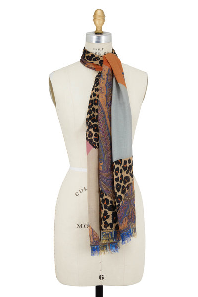 Etro - Multicolor Paisley Cheetah Wool & Silk Scarf