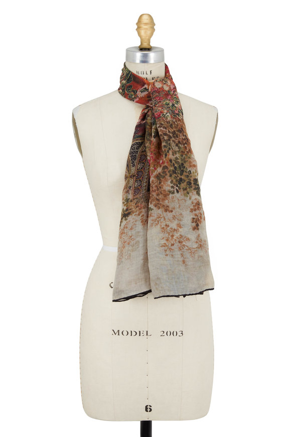 Etro Natural Faded Floral Cashmere Scarf
