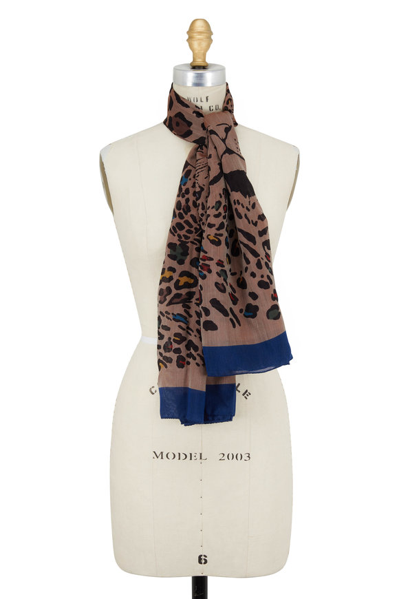 Etro Natural Cheetah Print Silk & Cashmere Scarf