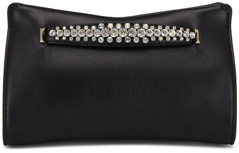 Jimmy Choo Venus Black Leather Crystal Bracelet Clutch