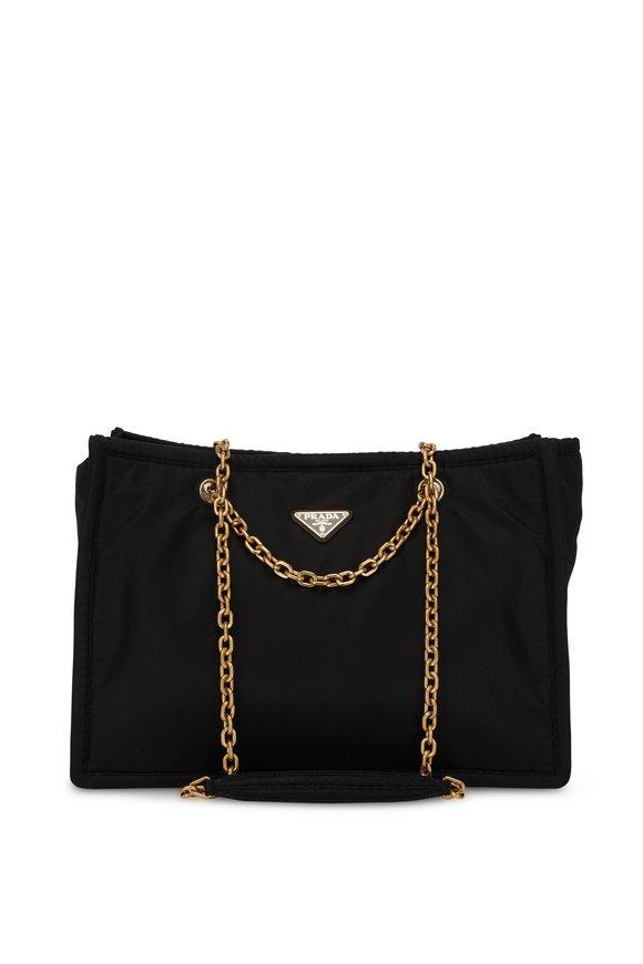 Prada Black Tessuto Chain Strap Shoulder Bag