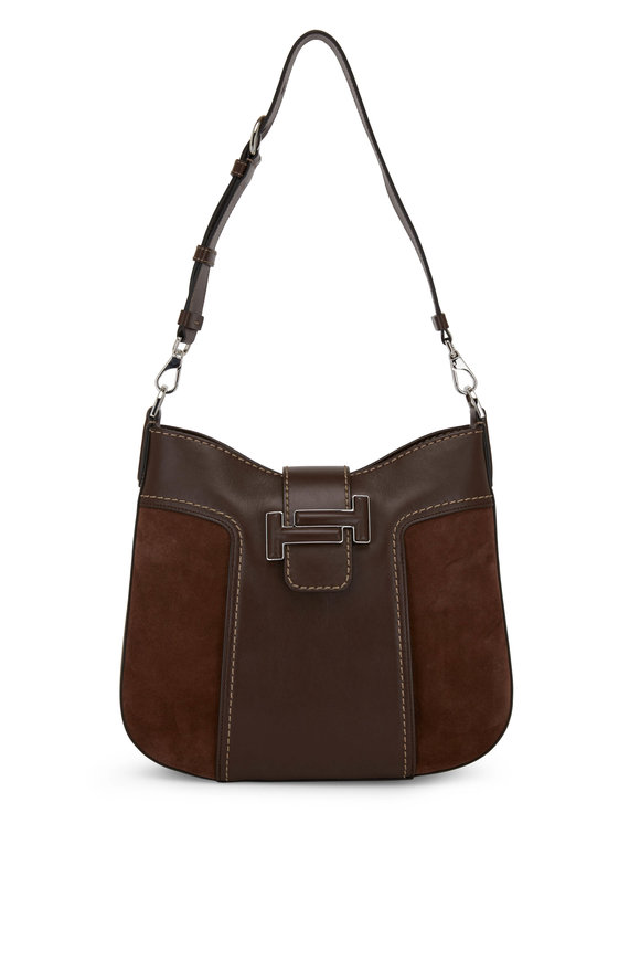 Tod's Double T Brown Leather & Suede Small Hobo Bag