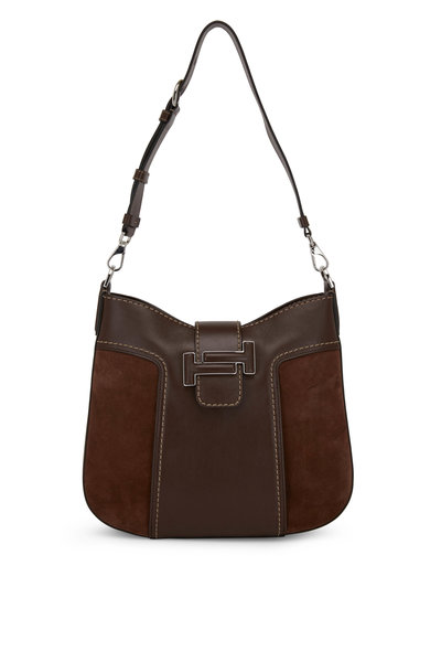 Tod's - Double T Brown Leather & Suede Small Hobo Bag