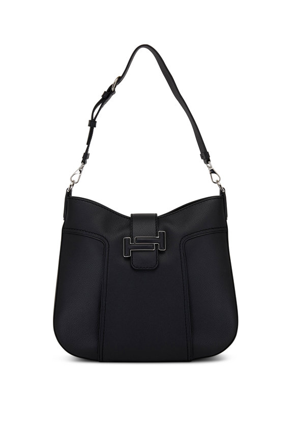 Tod's Double T Black Grained Leather Medium Hobo Bag