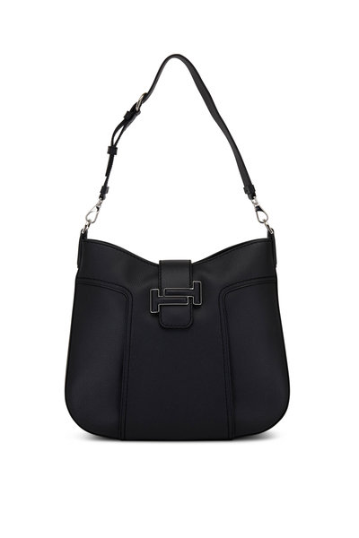 Tod's - Double T Black Grained Leather Medium Hobo Bag