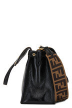 Fendi - Black Leather & Brown Suede Guitar Strap Flip Bag