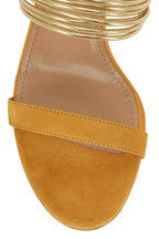 Aquazzura - Rendez Vous Ochre Suede Gold Bands Slide, 50mm