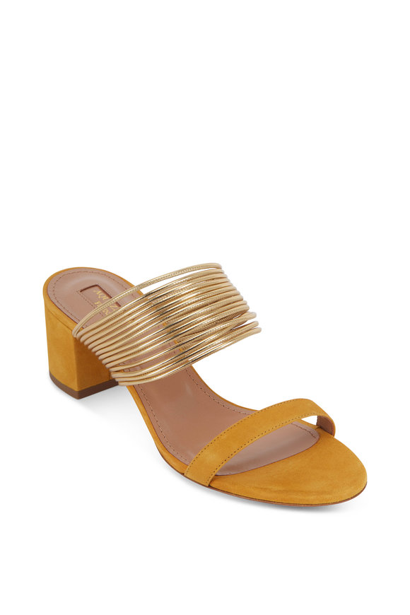 Aquazzura Rendez Vous Ochre Suede Gold Bands Slide, 50mm