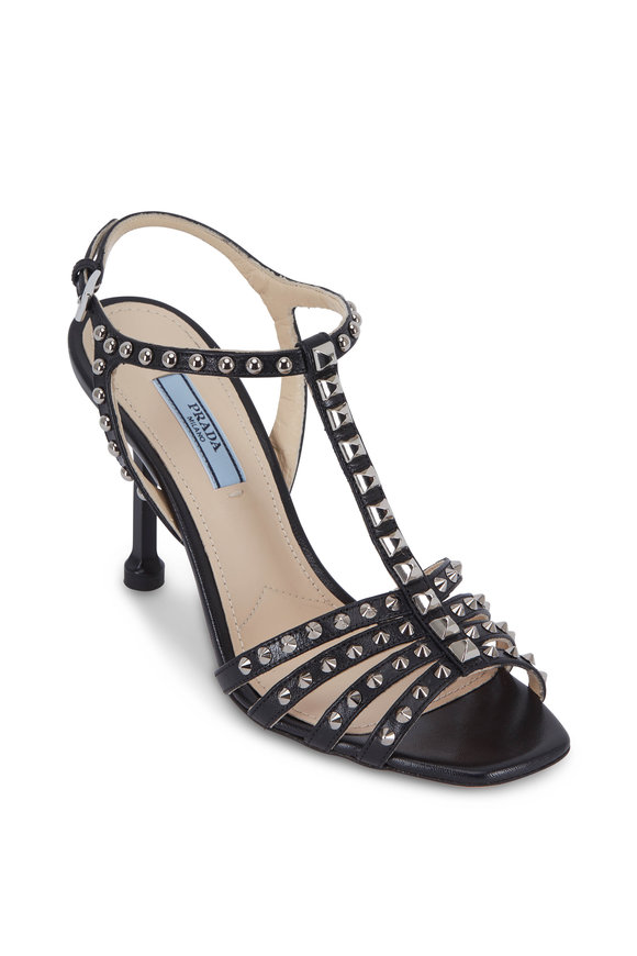 Prada Black Leather Studded T-Strap Sandal, 90mm