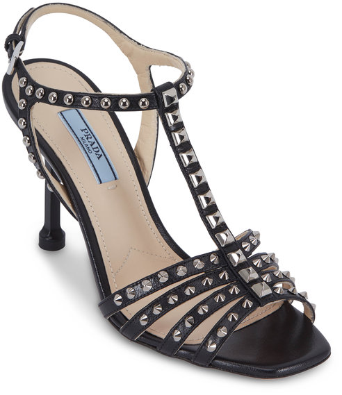 Prada Black Leather Studded T-Strap Sandal, 90mm