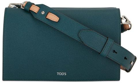 Tod's Doppia Dark Green Grained Leather Crossbody