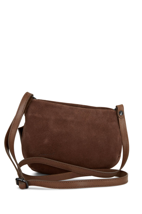 Marsell Chocolate Suede Asymmetric Crossbody Bag