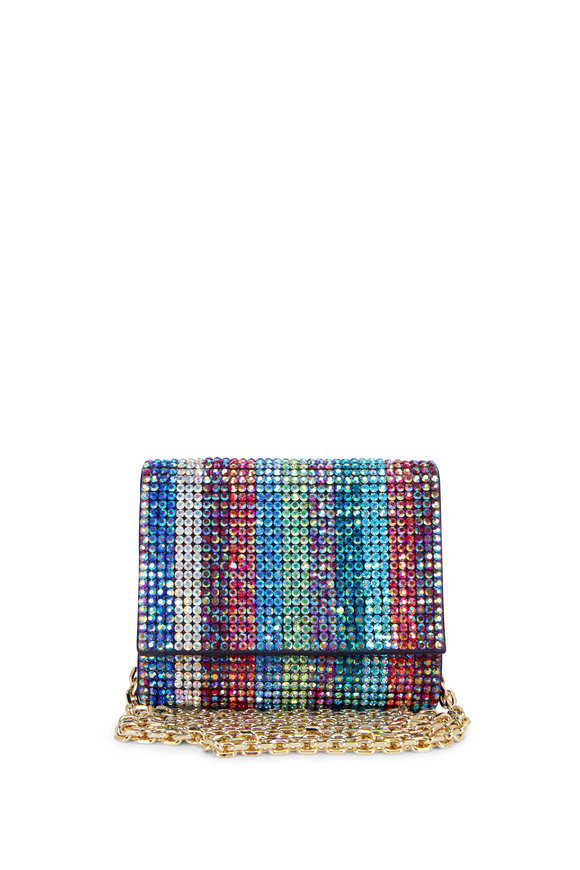 Judith Leiber Couture Champagne Multi-Color Crystal Micro Bag