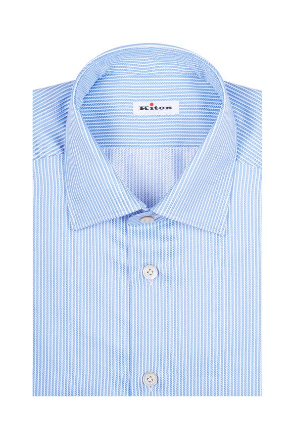 Kiton Blue Textured Striped Dress Shirt