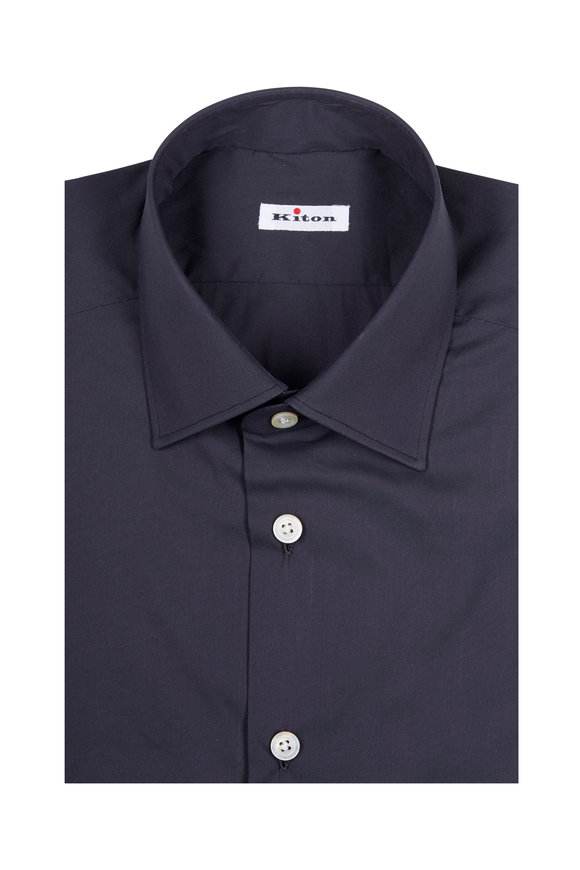 Kiton Solid Grey Stretch Cotton Dress Shirt