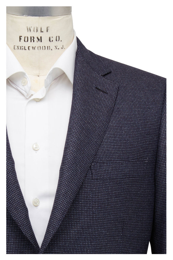 Brioni Navy Micro Neat Silk & Cashmere Sportcoat