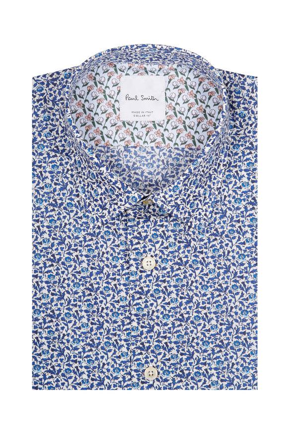 Paul Smith Blue Floral Contrast Cuff Dress Shirt