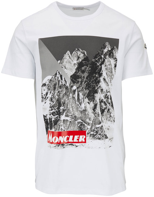 Moncler White Mountain Print Graphic T-Shirt