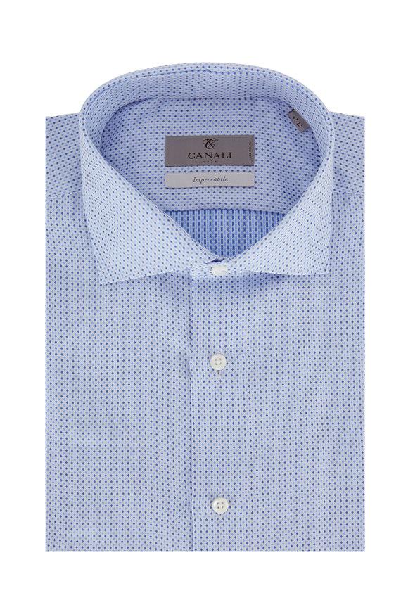 Canali Light Blue Micro Dot Modern Fit Dress Shirt