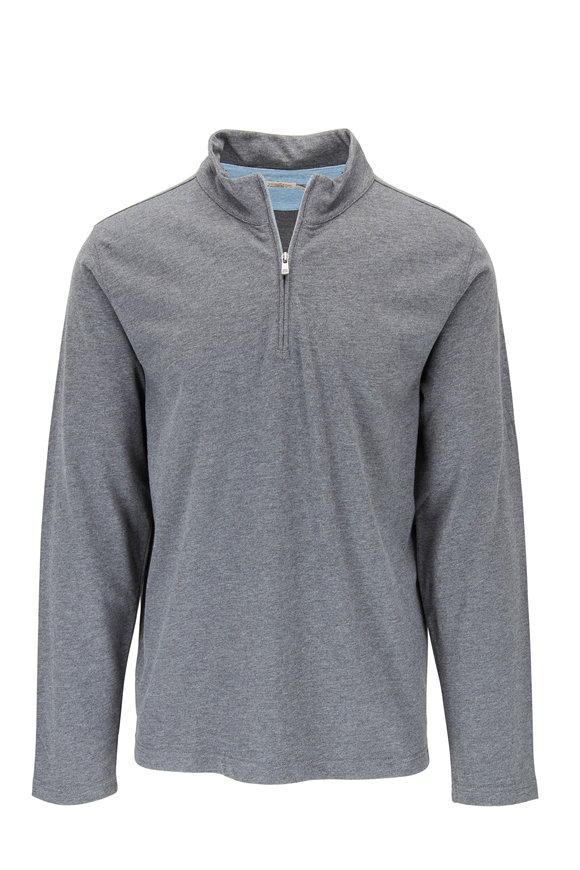 Faherty Brand Suffolk Charcoal Quarter-Zip Pullover