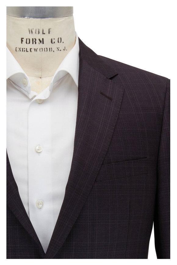 Samuelsohn Bennet Dark Purple Plaid Wool Suit