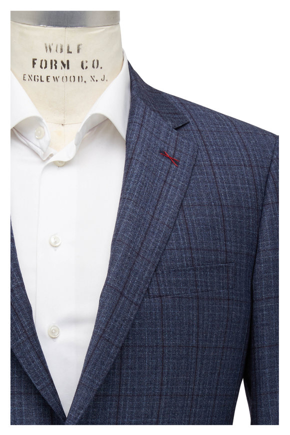 Samuelsohn Bennet Blue Windowpane Wool Suit