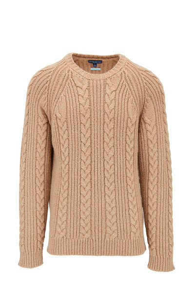 Peter Millar - Chalet Camel Cable Knit Crewneck Sweater