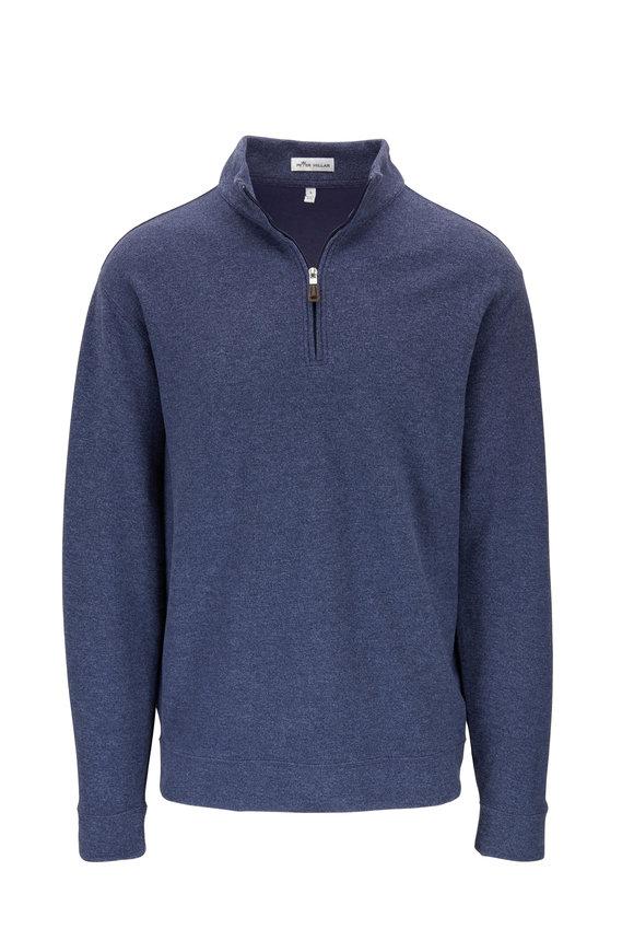 Peter Millar Navy Triblend Fleece Quarter-Zip Pullover