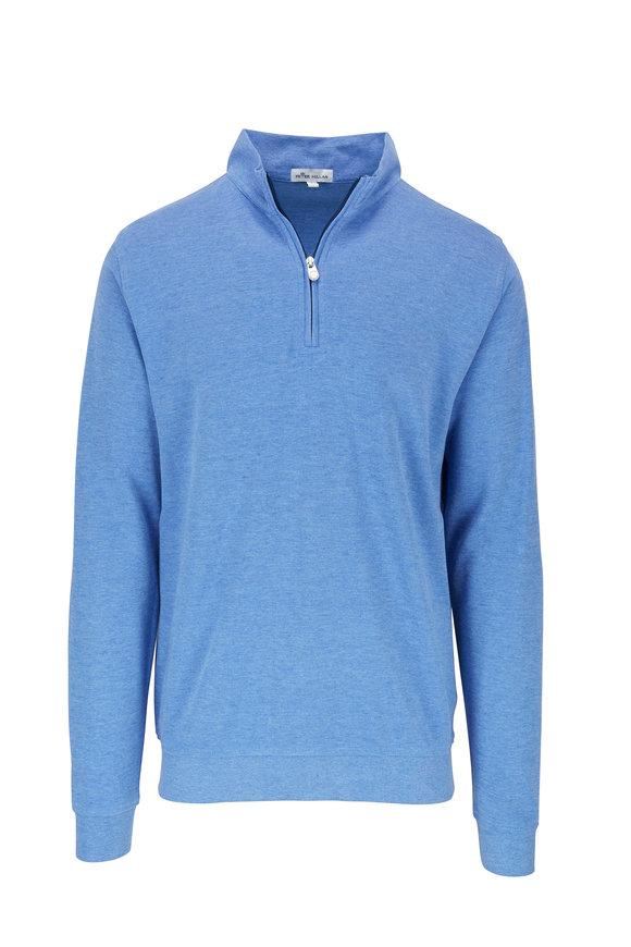 Peter Millar Blue Interlock Quarter-Zip Pullover