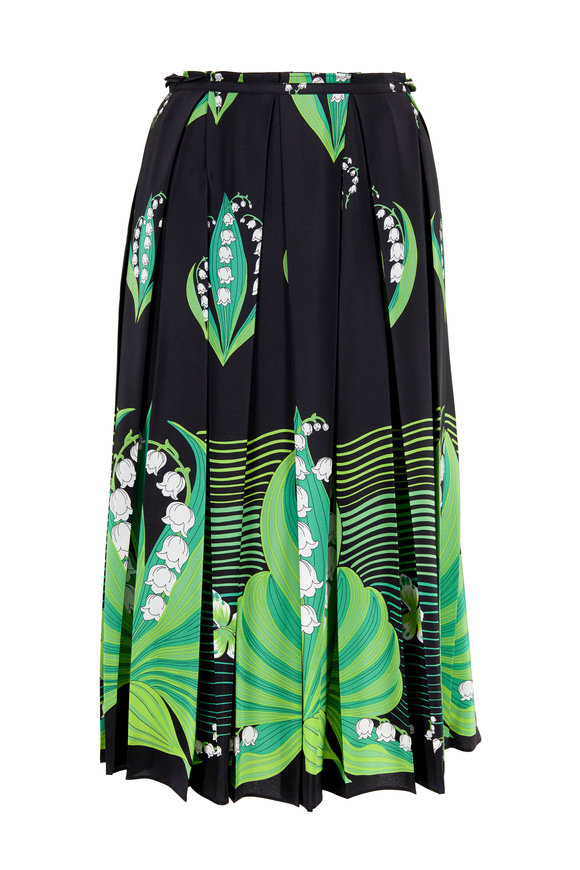 Valentino Black & Green Lily Of The Valley Pleated Skirt