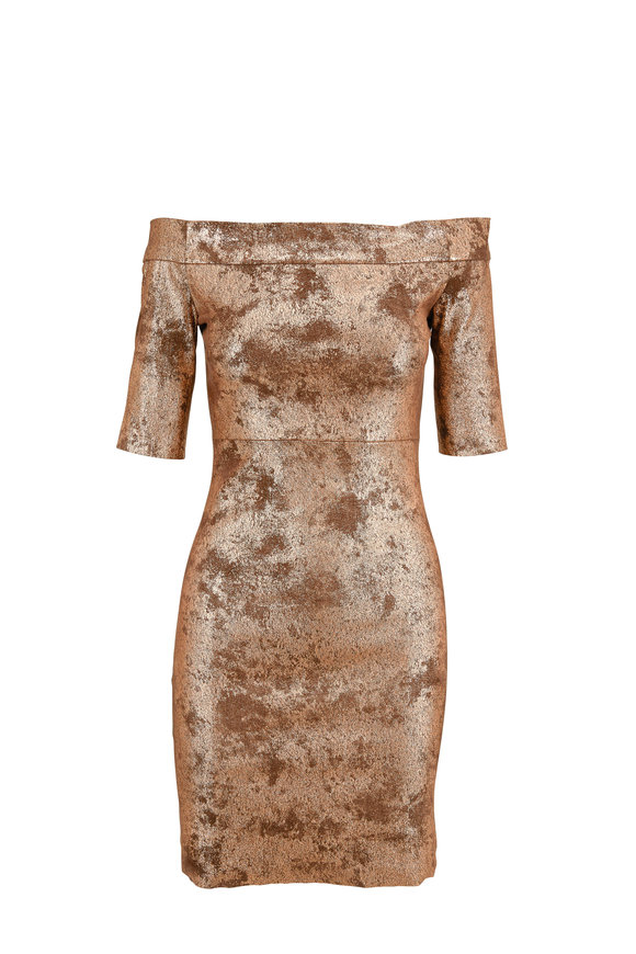 Jitrois Hamptons Brown Copper Leather Short Sleeve Dress