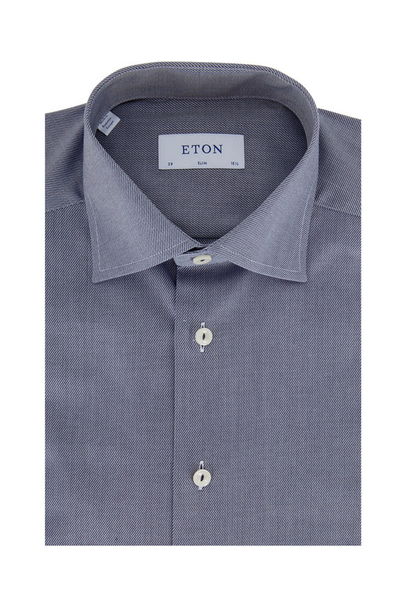 Eton Slate Striped Slim Fit Dress Shirt