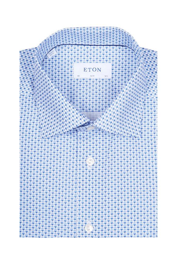 Eton Blue Micro Fan Flower Slim Fit Dress Shirt