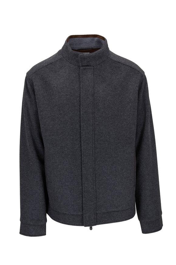 Peter Millar Gray Flex-Fleece Wool Bomber Jacket