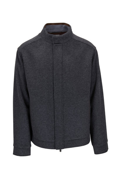 Peter Millar - Gray Flex-Fleece Wool Bomber Jacket