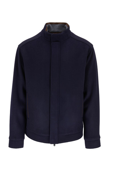 Peter Millar - Navy Flex-Fleece Bomber Jacket