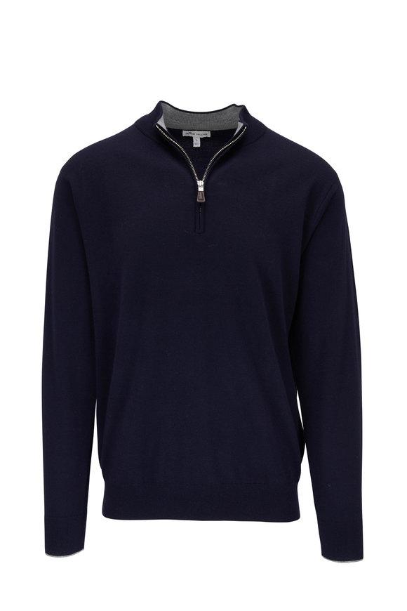 Peter Millar Navy Stretch Cashmere & Silk Quarter-Zip Pullover