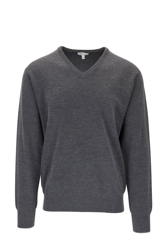 Peter Millar Charcoal Gray Stretch Cashmere & Silk Pullover