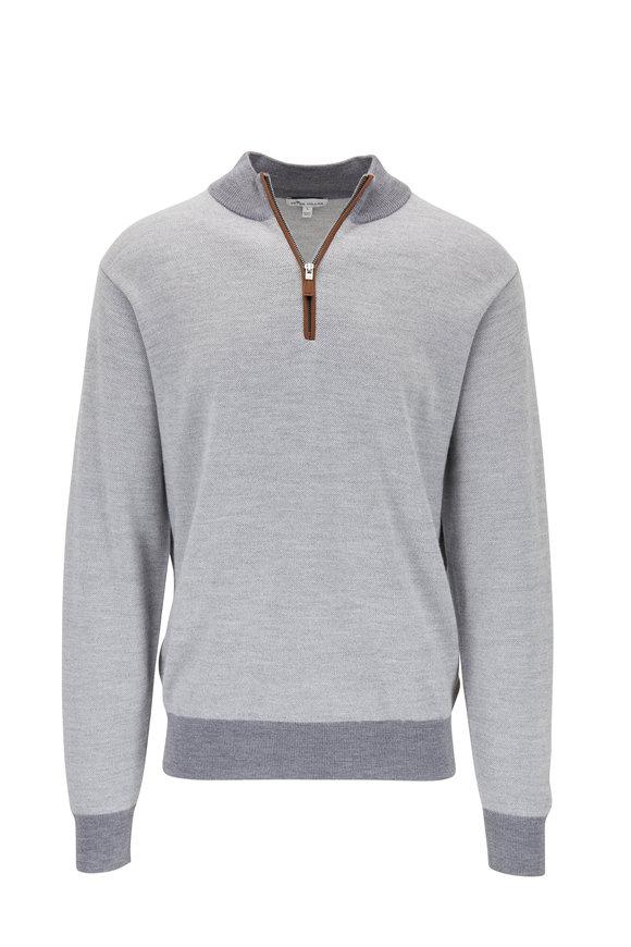 Peter Millar Gray Birdseye Quarter-Zip Merino Wool Pullover