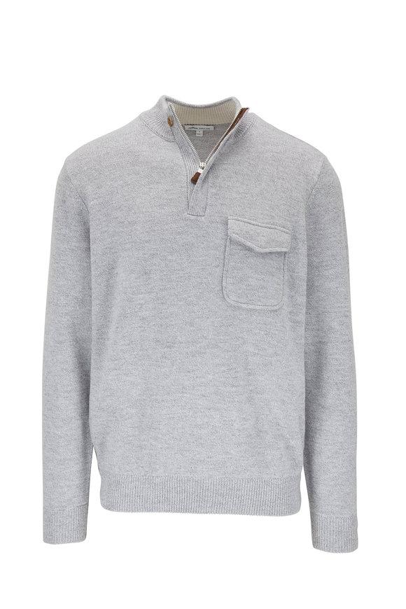 Peter Millar Westville Gray Wool Quarter-Zip Pocket Pullover