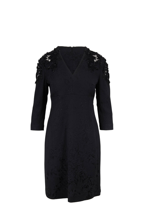 Escada Delhine Black Three-Quarter Sleeve Dress
