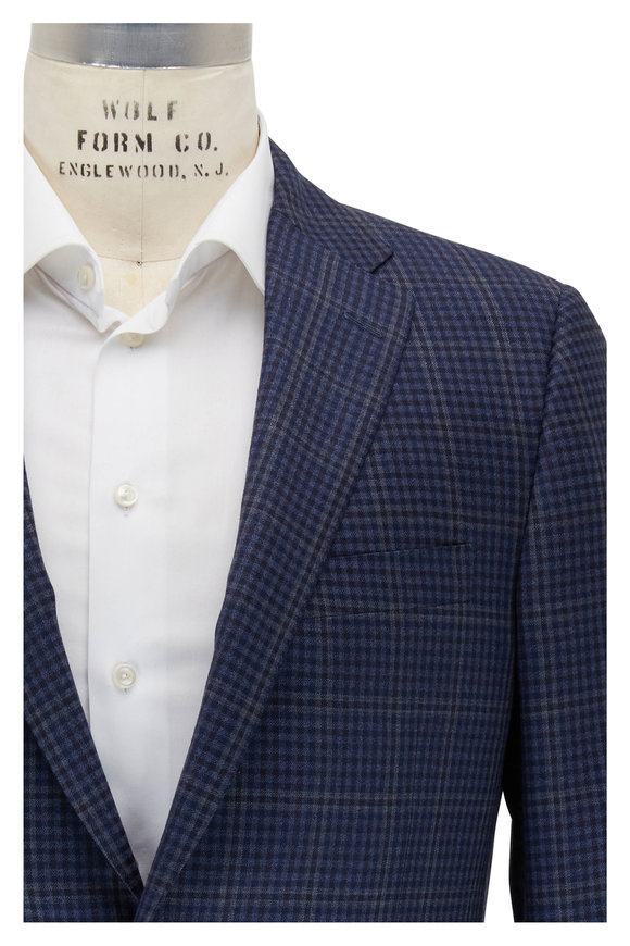 Hickey Freeman Navy & Blue Check Wool Sportcoat