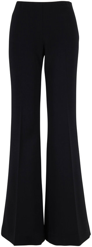 The Row Lanae Black Stretch Wool High-Rise Flare Pant
