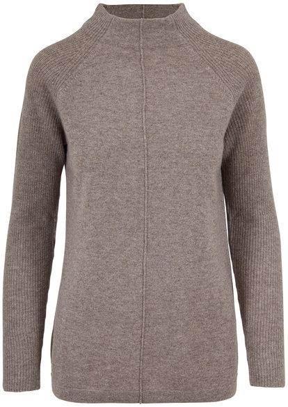 Kinross Suede Cashmere Ribbed Sleeve Mockneck Sweater