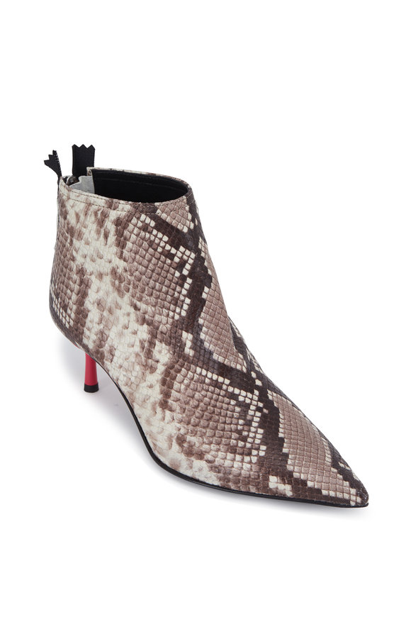 AGL Natural Snakeskin & Pink Heel Ankle Boot, 60mm