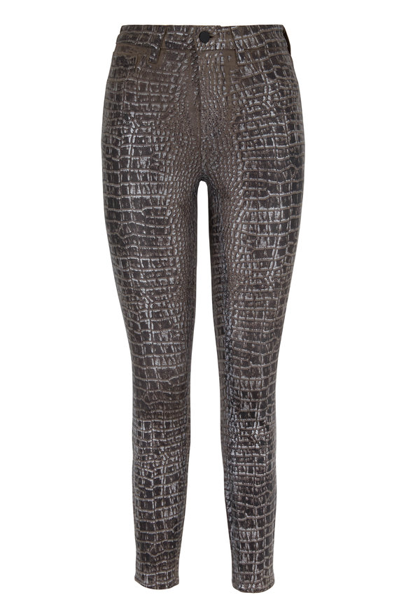 L'Agence Margot Brown Croc Foiled High-Rise Skinny Jean