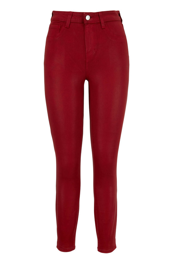 L'Agence Margot Red Coated High-Rise Skinny Jean