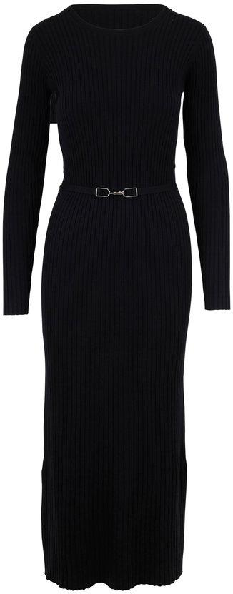 Gabriela Hearst Luisa Black Ribbed Knit Long Sleeve Belted Dress