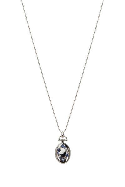Monica Rich Kosann - Silver Crystal Sapphire Wreath Locket Necklace